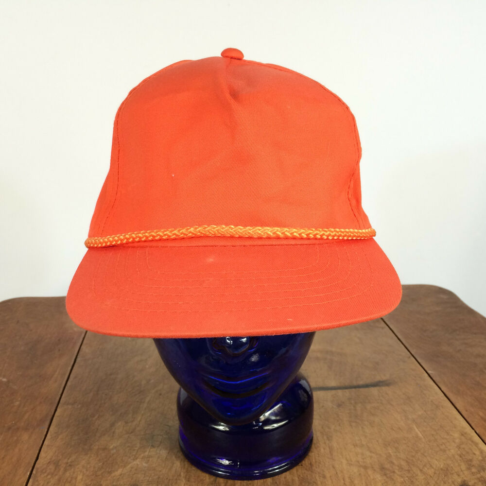 Details about Vintage Blank Plain Rope Trucker Orange Baseball Snapback Hat  Cap 1980s Surf b1e0f10c6f4