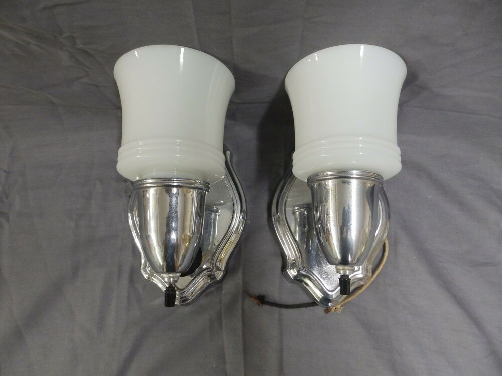 Antique Wall Sconce Glass Shades : Vintage Chrome Sconce Pr Old Milk Glass Shades Art Deco Light Fixtures 1810-16 eBay