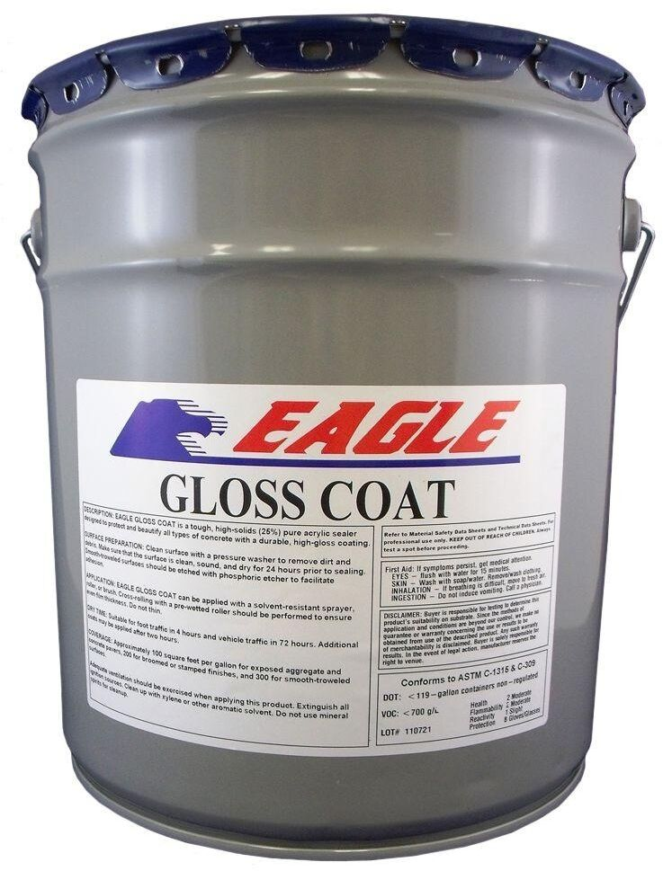 5gal Acrylic Concrete Sealer Gloss Coat Clear High Gloss