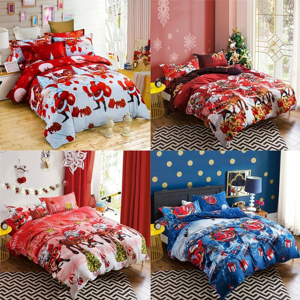christmas bed sheet pillowcase quilt duvet cover bedspread bedroom 4pcs sets new ebay
