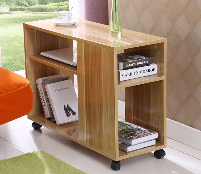Side lamp table coffee table desk magazine book shelf Desk with shelves on side