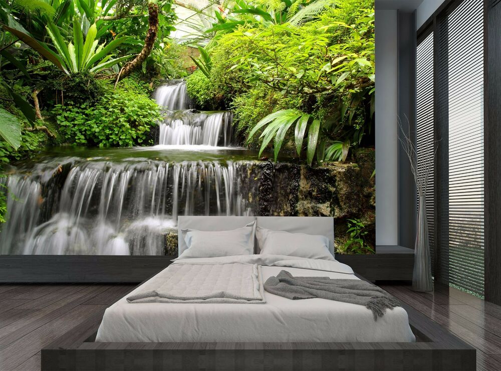 Rain Forest Jungle Trees Waterfall Wall Mural Photo