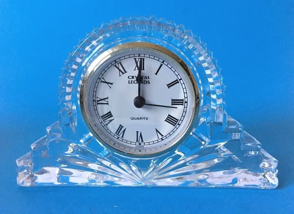 Godinger Crystal Legends Quartz Mantle Clock 24 Lead
