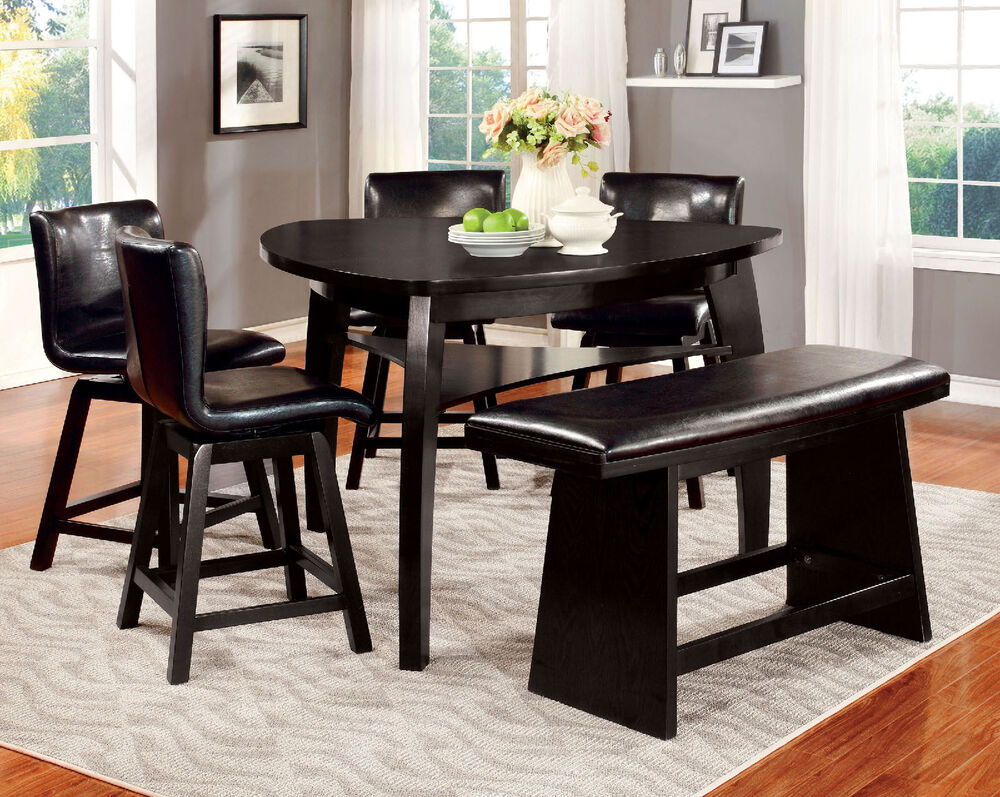black 6pc dining set counter height dining table w shelf 4 side chairs bench ebay. Black Bedroom Furniture Sets. Home Design Ideas
