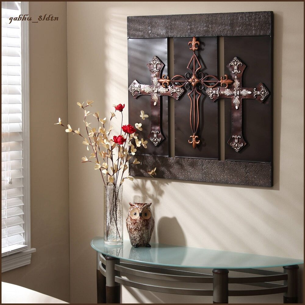 3d wall art metal sculpture large bronze crosses elegant for Home decor wall hanging