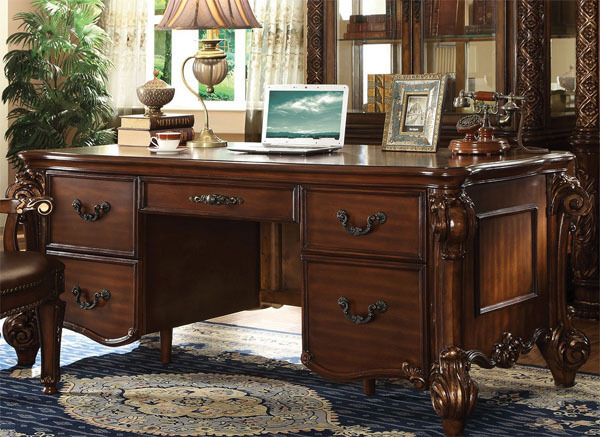 Warm Cherry Executive Desk Home Office Collection: NEW CHANDELEUR ELEGANT CHERRY FINISH WOOD HOME OFFICE
