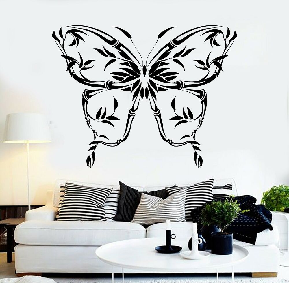Vinyl wall decal beautiful butterfly reed decorating room - Beautiful wall stickers for living room ...