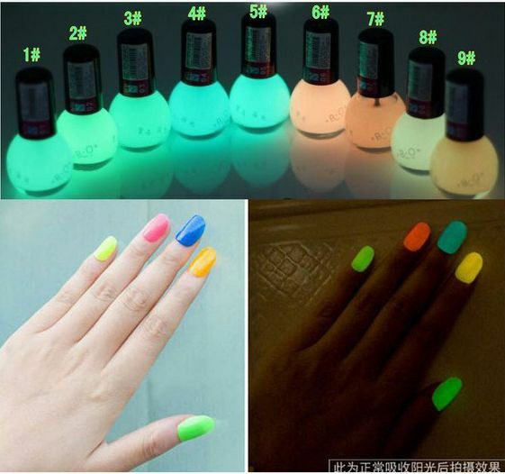 Fluorescent Neon Pink Nail Polish: 3pcs Lot 12 Colors Glow In The Dark Neon Fluorescent Nail