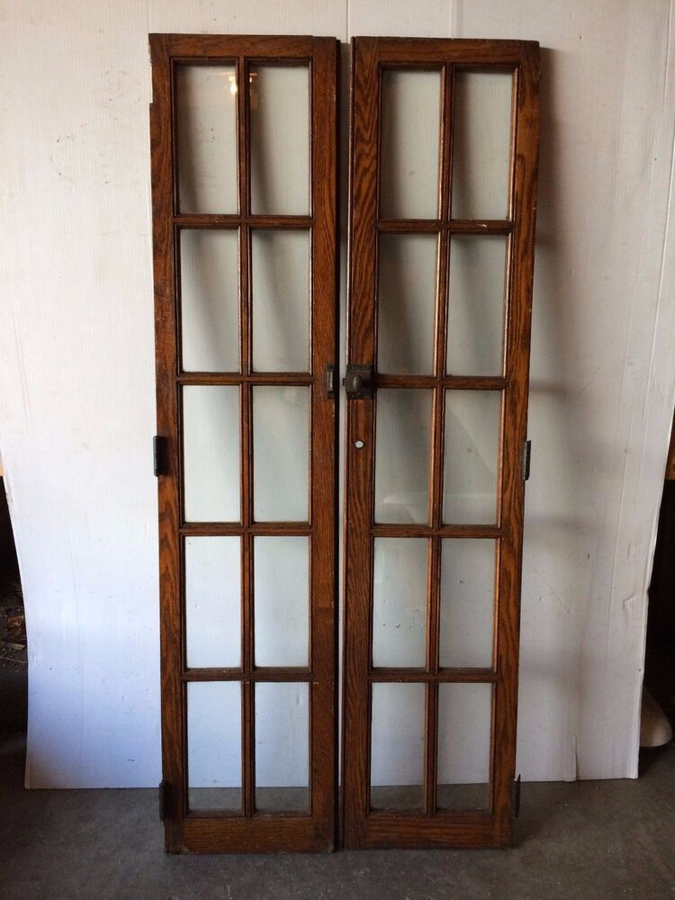 Pair Antique Cabinet Pantry Door Oak Kitchen Vintage Chic