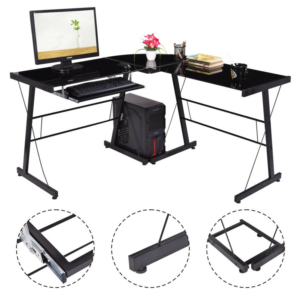 Corner Office Desk Home Laptop Table Workstation Computer: L-Shape Computer Desk PC Laptop Table Glass Top