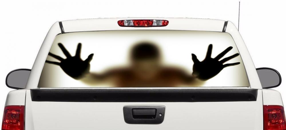 Zombie Ghost Behind Glass Wrap Rear Window Graphics Decal
