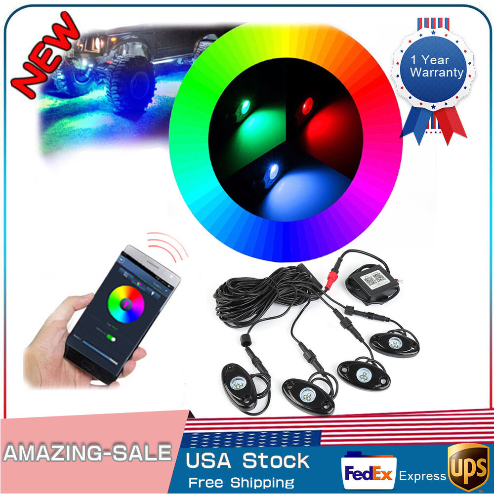 4 X RGB LED Pods Rock Lights Wireless Remote Controller ...