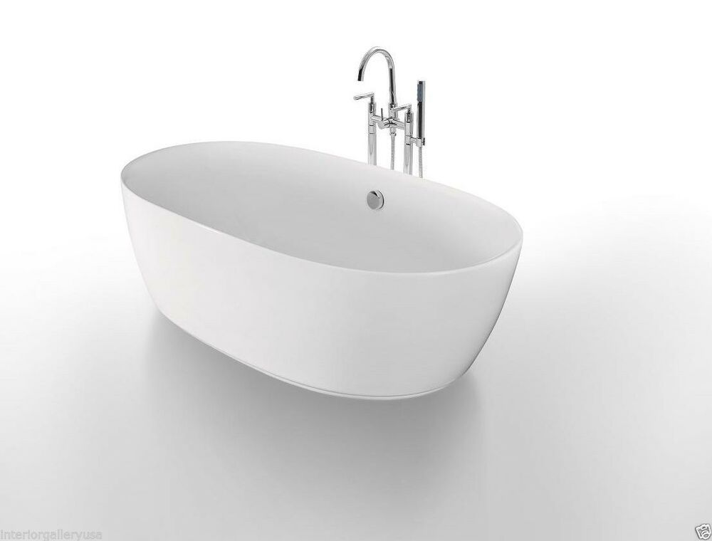 Acrylic bathtub freestanding soaking tub modern for Acrylic soaker tub
