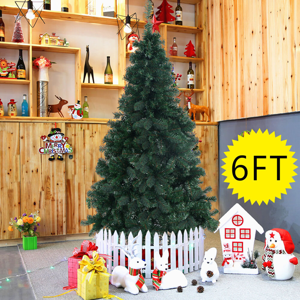 6Ft Artificial PVC Christmas Tree W/Stand Holiday Season ...