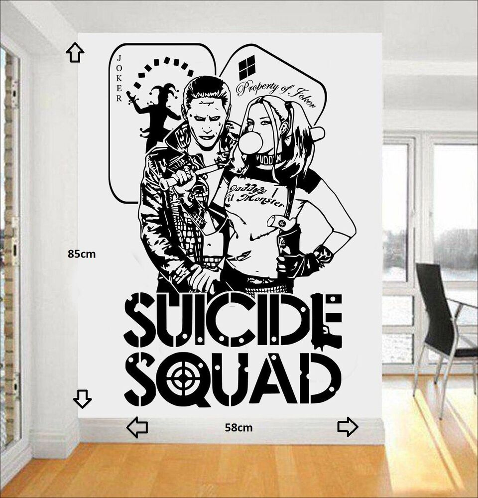 Graphic Quotes Wall Art   White Or Pool : Harley quinn joker dc comics squad task force