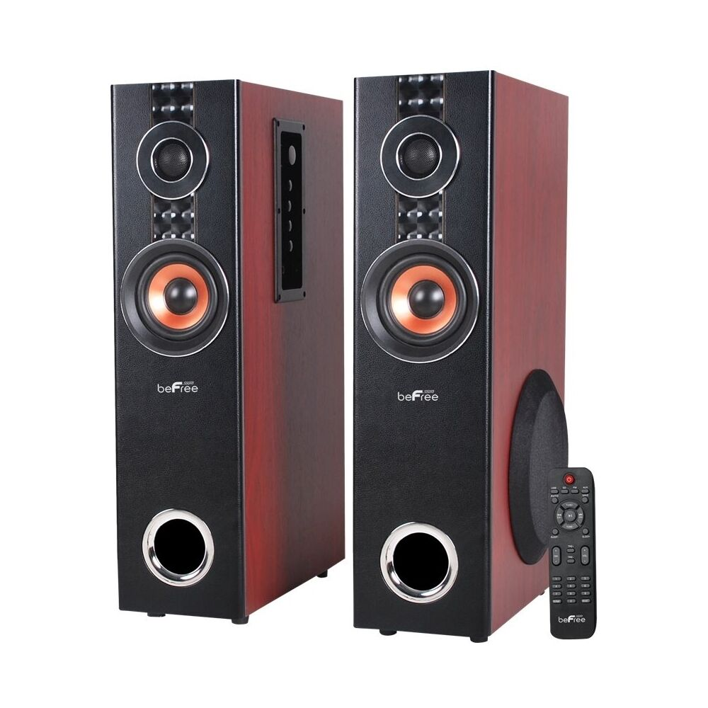 befree sound 6 1 2 powered 3 way floor speakers pair wood ebay. Black Bedroom Furniture Sets. Home Design Ideas