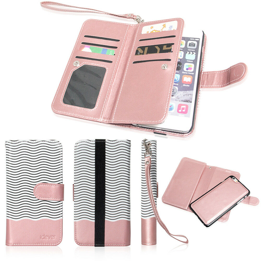 Leather Removable Wallet Magnetic Flip Card Case Cover For
