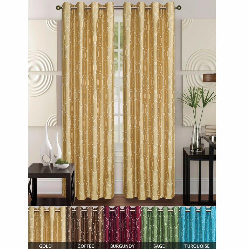 Faux Silk Geometric Embroidered Window Curtain Panel With