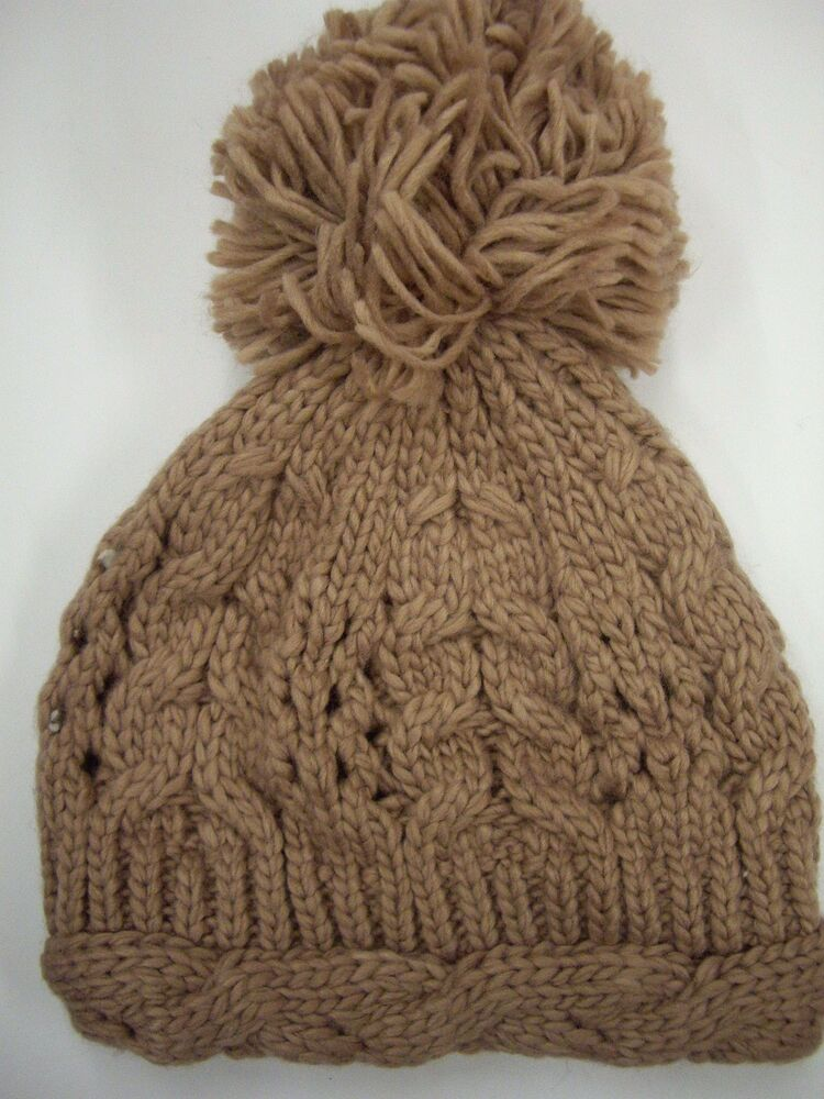 Details about New Look Blush Cable Knit Beanie Hat with Extra Large Pom-Pom c035a8f3a960