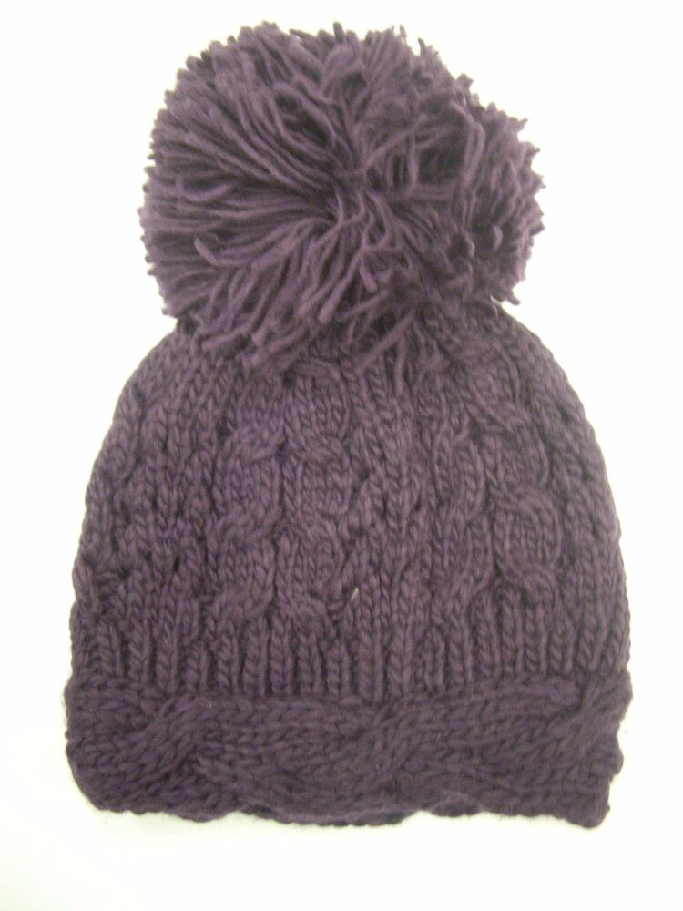 Details about New Look Purple Cable Knit Beanie Hat with Extra Large Pom-Pom d75c250561c9