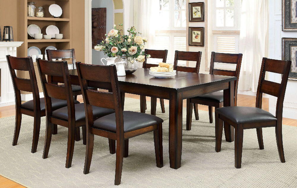 Modern dark cherry finish 9pc set dining room table w leaf for Dining room tables 0 finance