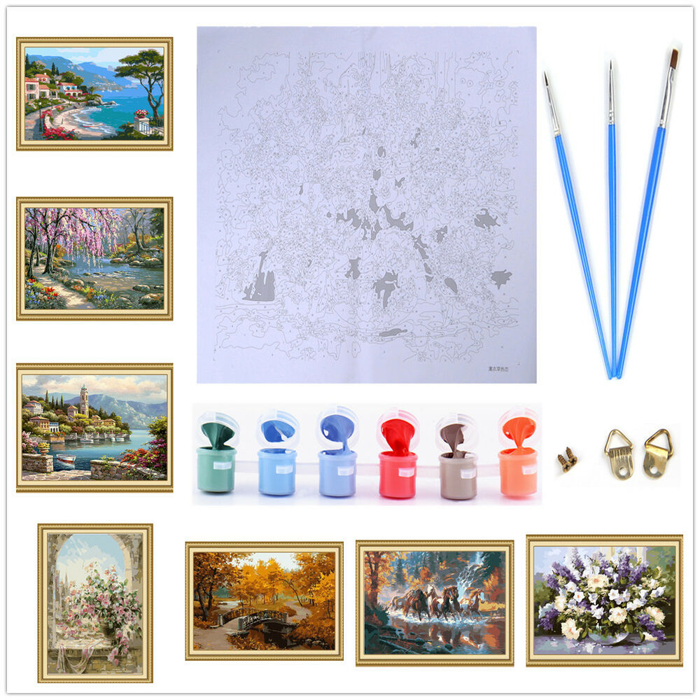 Frameless paint by number diy oil painting canvas kits for Materials for canvas painting