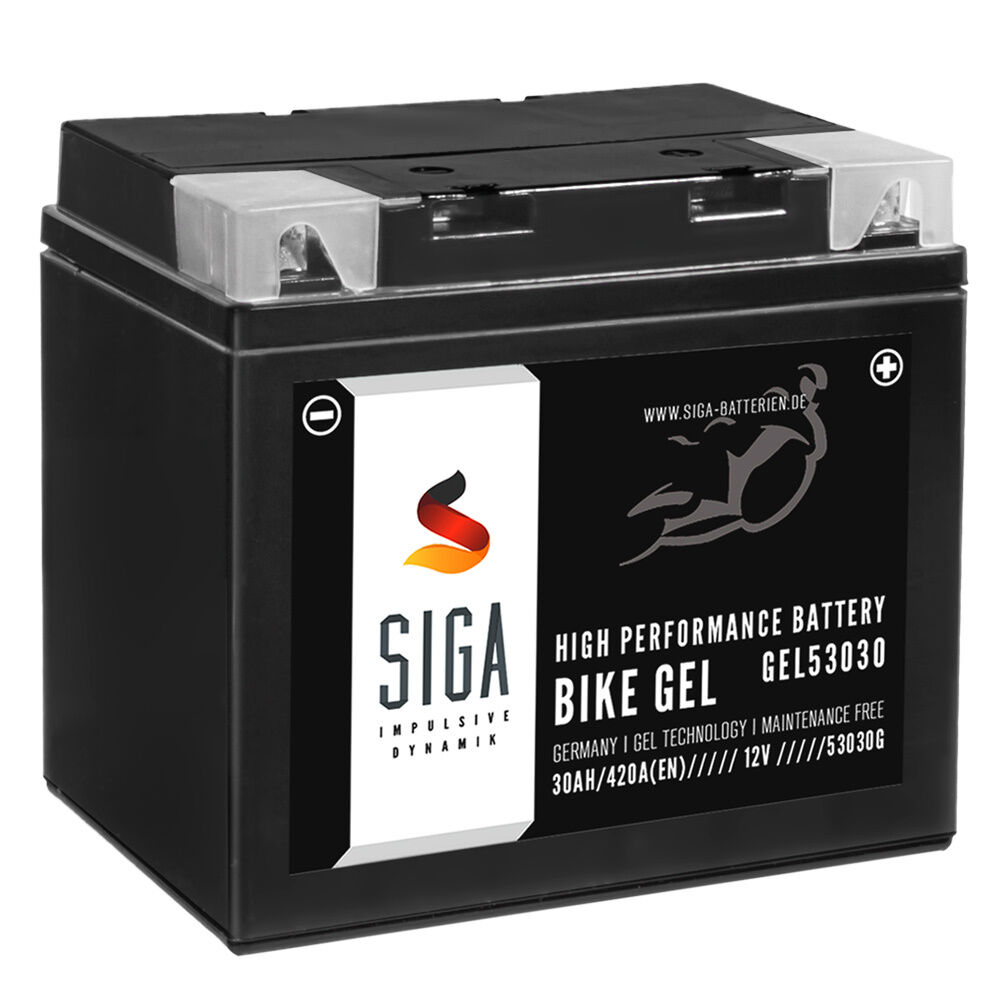 siga bike gel motorrad batterie 53030 30ah 12v 420a en c60 n30l a y60 n30l a ebay. Black Bedroom Furniture Sets. Home Design Ideas