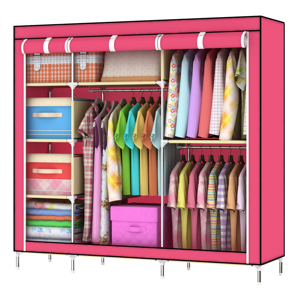 Home Portable Cloth Hanger Rack Shelf Closet Foldable Organizer Wardrobe Cabinet Ebay