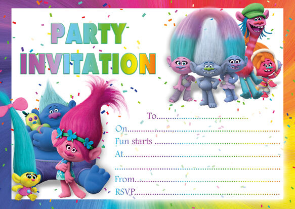 10 x Trolls Birthday Party Invitations or Thank you cards ...