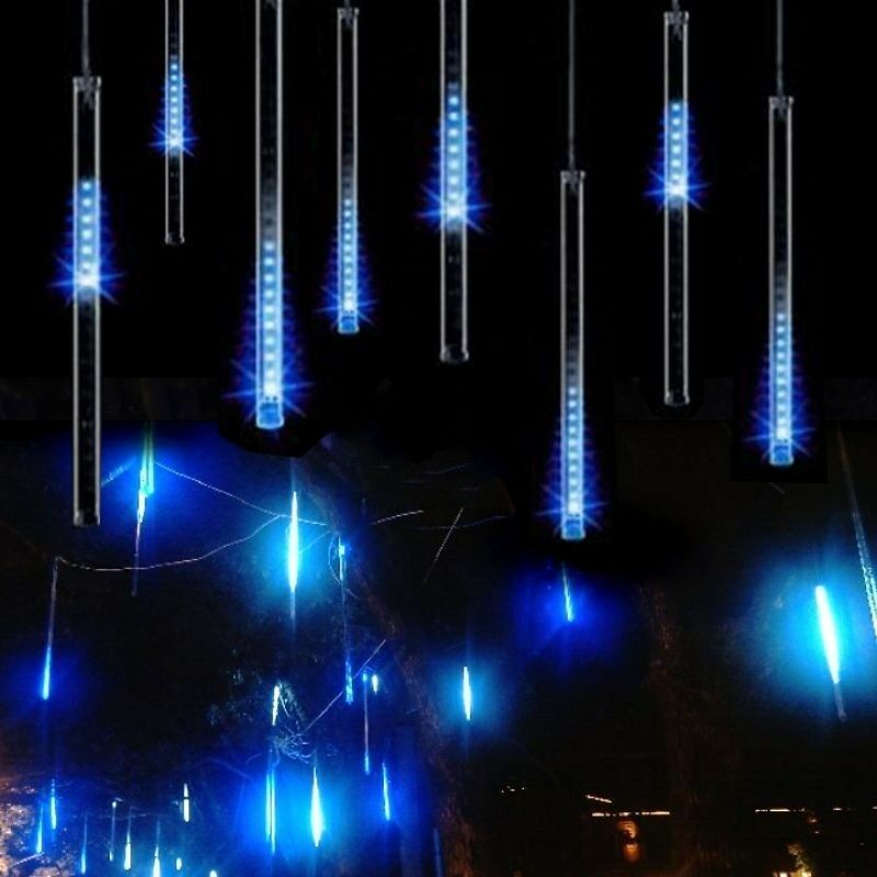 50cm meteor shower falling star icicle snow fall 240 led christmas light outdoor ebay. Black Bedroom Furniture Sets. Home Design Ideas