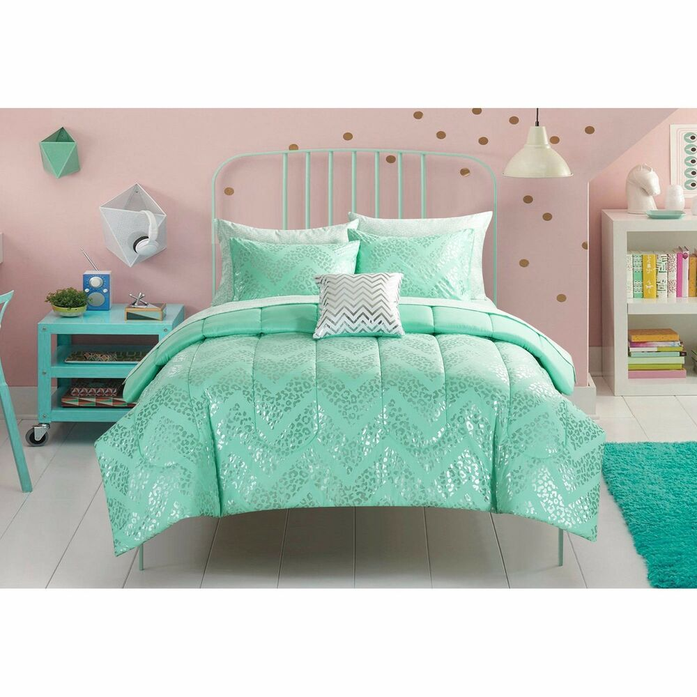 Girls silver cheetah 6 8 piece elegant mint green reversible bedding set new ebay - Bedroom ideas for yr old girl ...