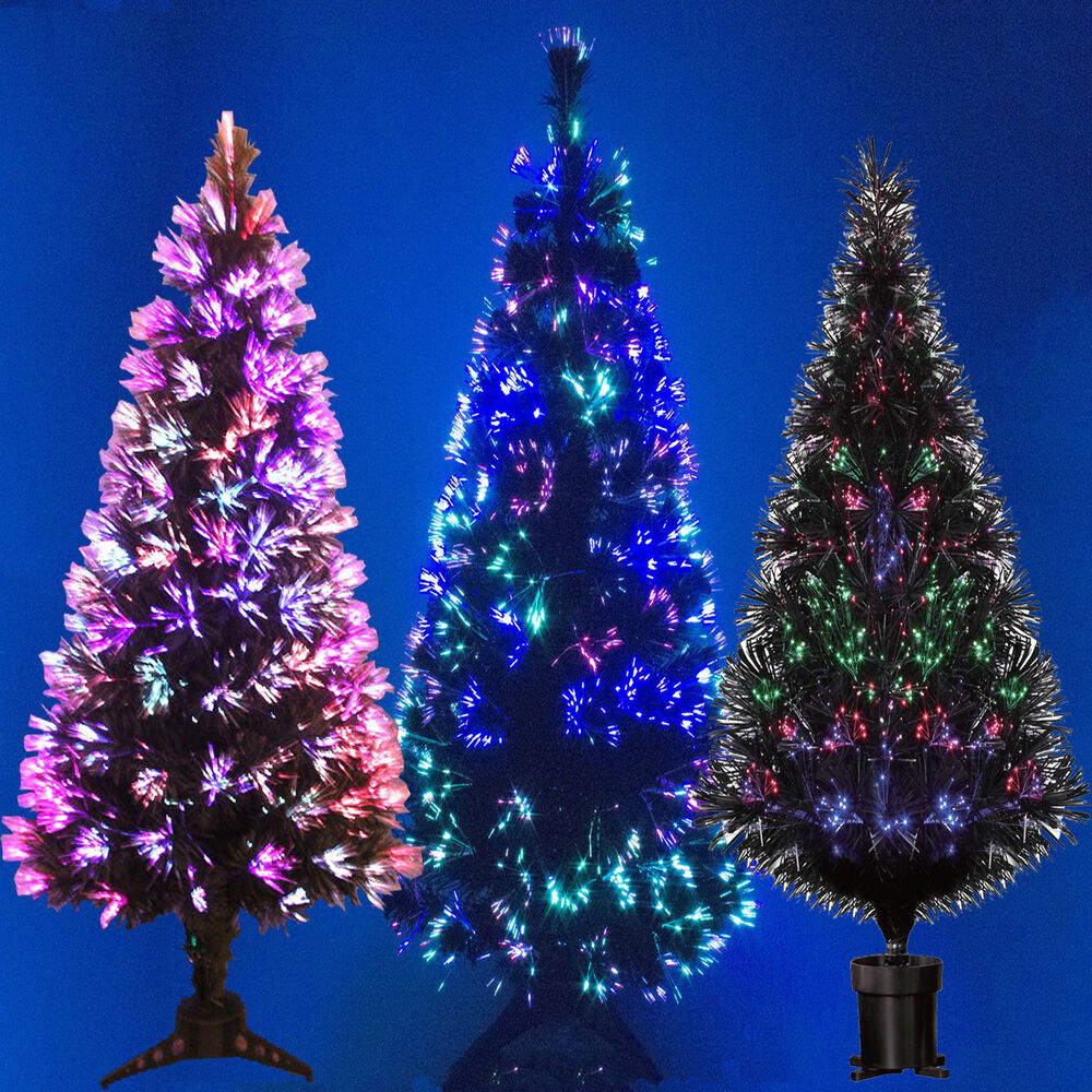 BLACK FIBRE OPTIC CHRISTMAS TREE COLOUR CHANGING - 2ft 3ft ...