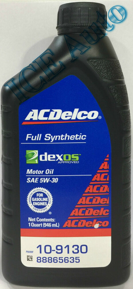 Acdelco full synthetic 10 9130 sae 5w 30 dexos1 motor oil for Sae 0w 20 synthetic motor oil
