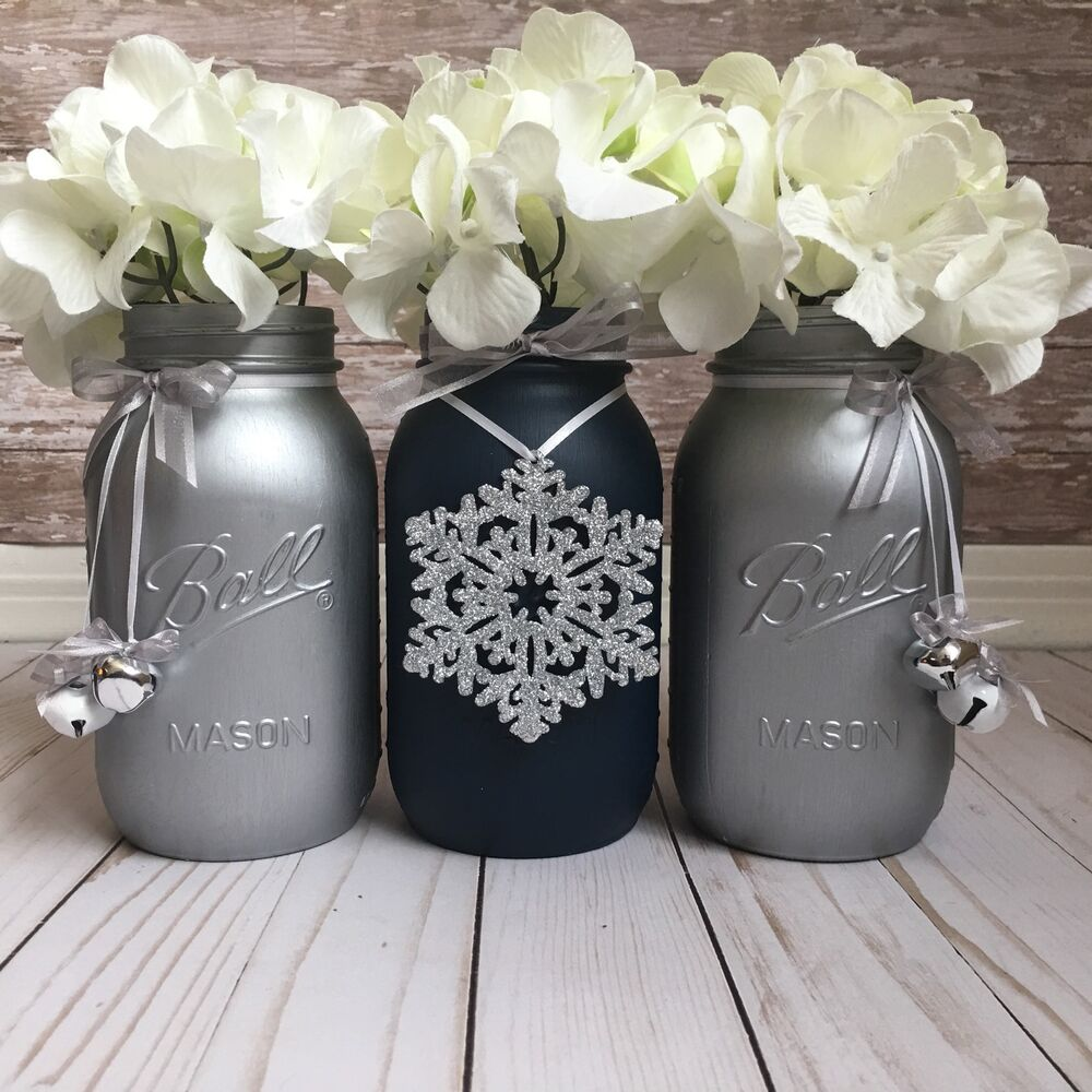 Blue Mason Jars Wedding Ideas: Navy Blue And Silver Mason Jars, Christmas Table