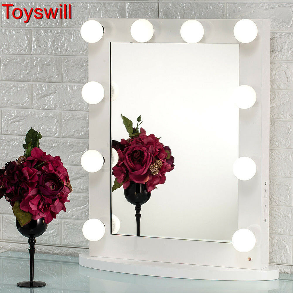 White Hollywood Makeup Vanity Mirror with Light Dimmer Stage Beauty Mirror eBay