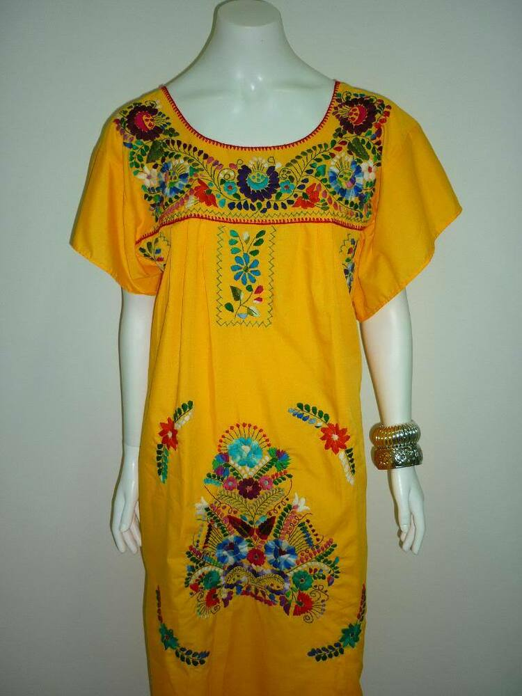 Xl plus size peasant boho tunic hand embroidered mexican