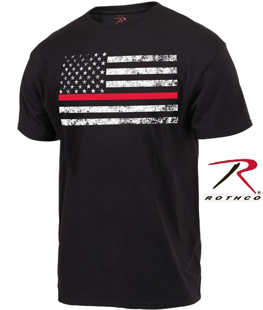Black thin red line firefighters tee shirt mens short for Thin long sleeve t shirts