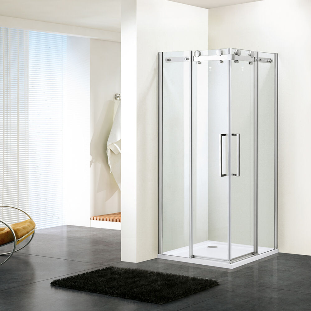 Shower enclosure room frameless tempered glass corner for Corner sliding glass doors