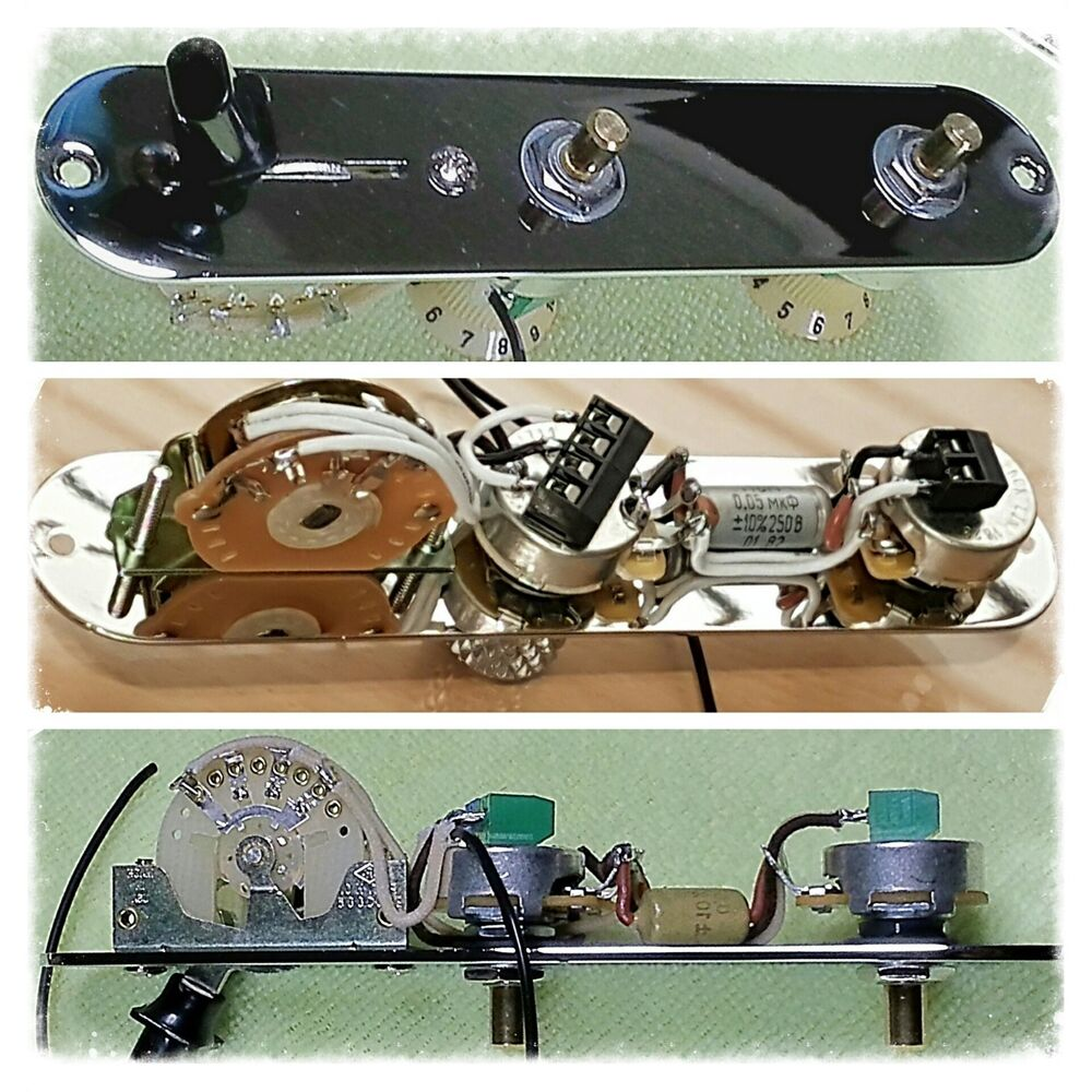 custom 3 way fender telecaster tele control plate wiring harness upgrade kit ebay. Black Bedroom Furniture Sets. Home Design Ideas