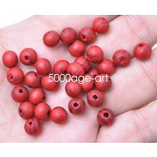 100 Pcs 8mm RED Wood  grain Spacer Loose beads Bracelets charms Findings bead
