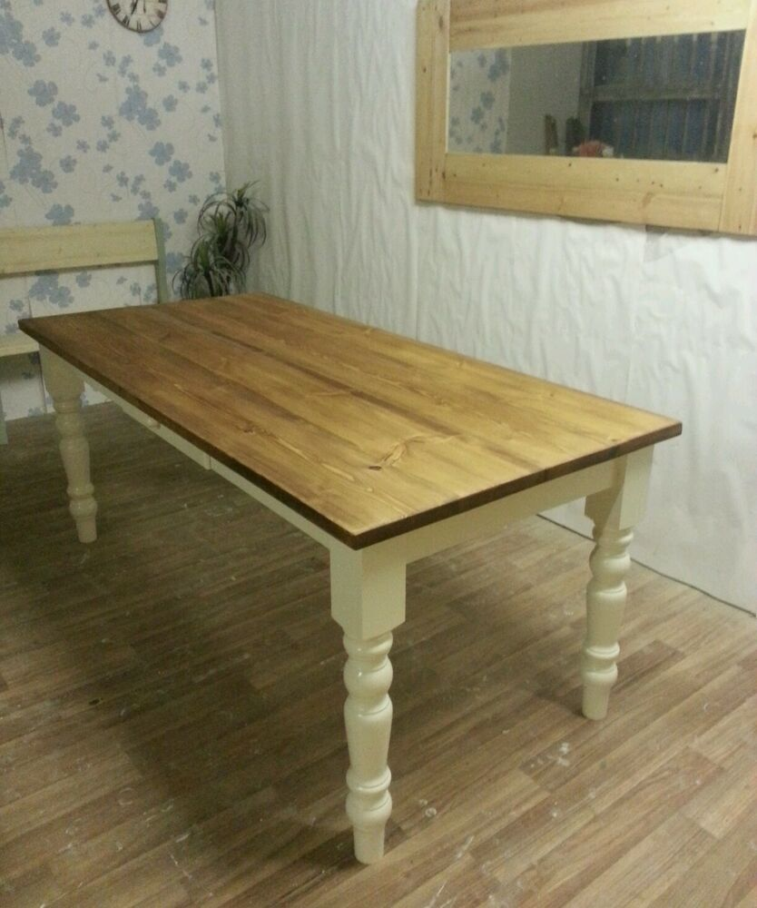 6ft x 3ft solid pine farmhouse kitchen dining table for Country style dining table