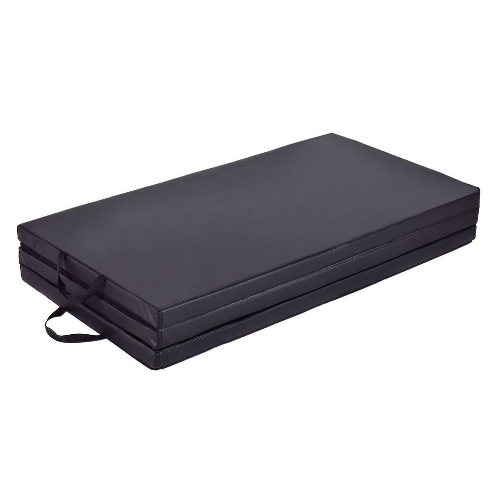 Black Panel Folding Padded Gym Exercise Gymnastics