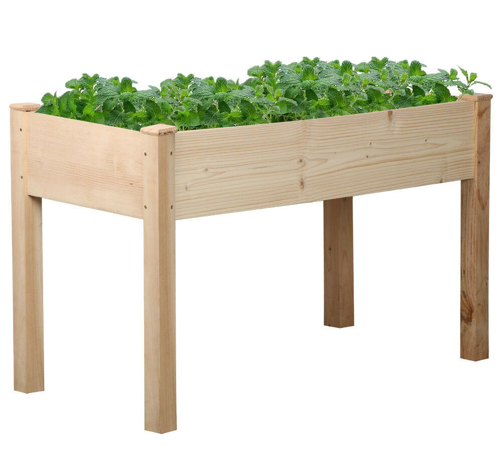 Rectangle Raised Flower Box Planter Bed 2 Tier Soil Pots: Solid Wood Raised Garden Bed Rectangle Elevated Planter
