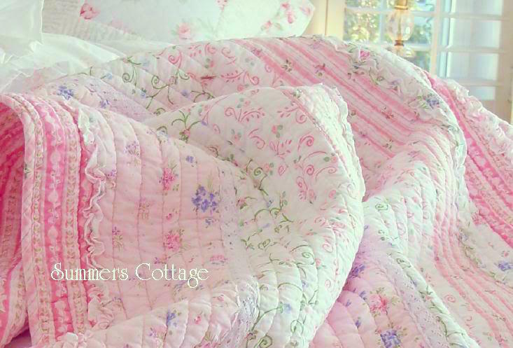 Pink Roses Amp Ruffles Shabby Cottage Chic White Lace Quilt