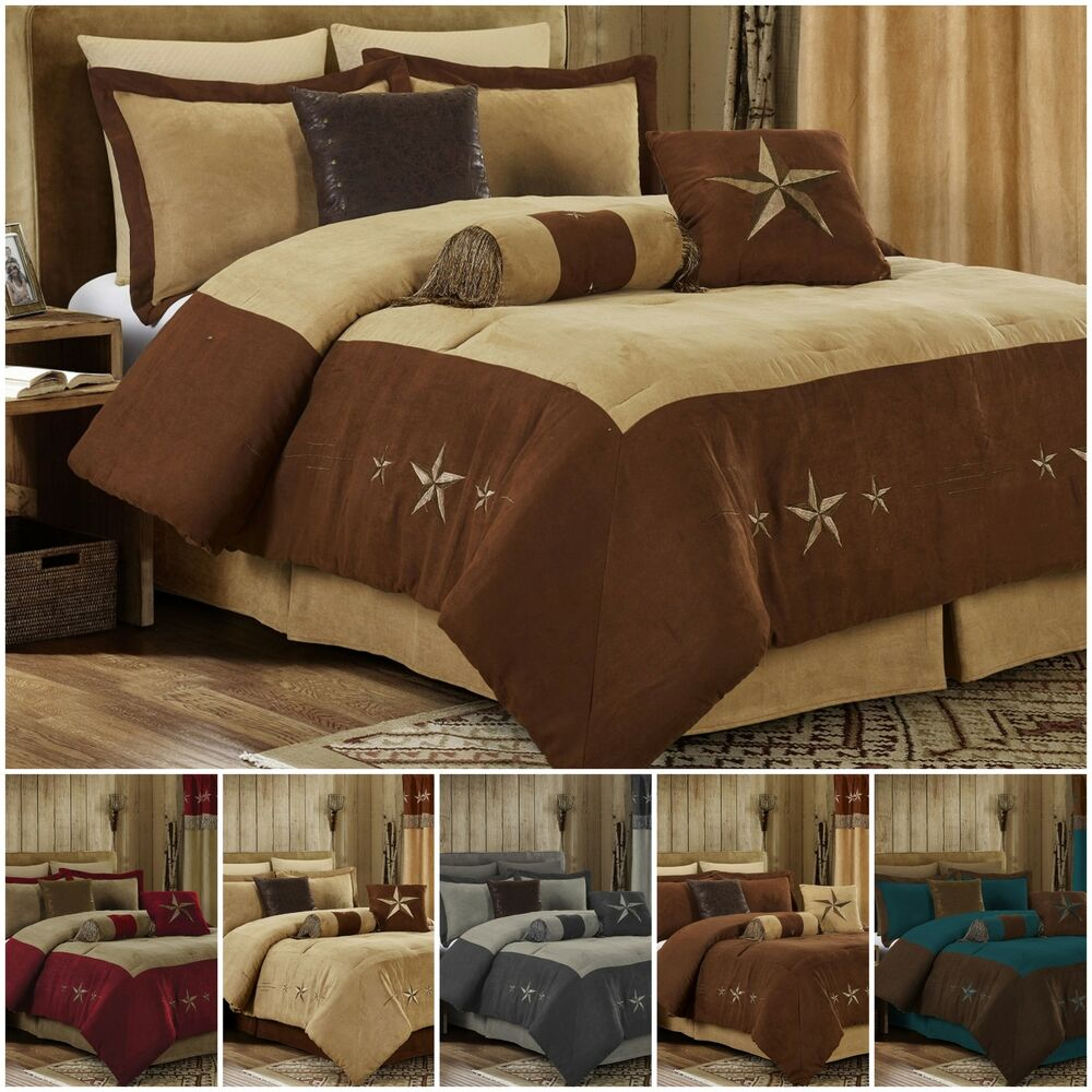 7pc western star embroidery microsuede oversize comforter - Complete bedroom sets with curtains ...