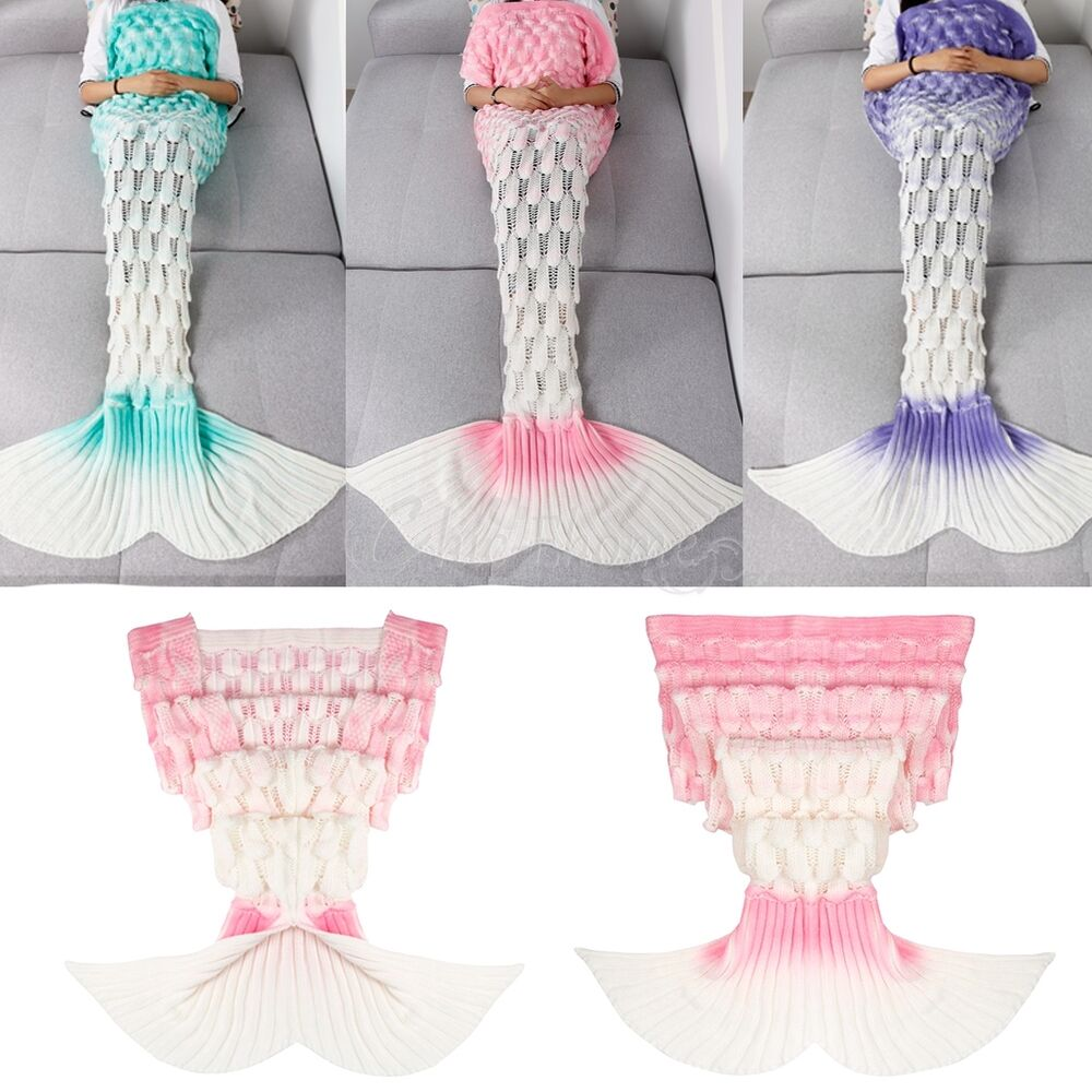 New Gradient Handcrafted Crochet Knitted Mermaid Tail Sofa
