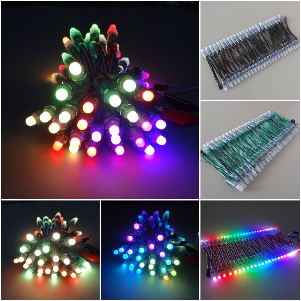 us ship ws2811 rgb led pixel diffused full color round green black 5v 12v ip68 ebay. Black Bedroom Furniture Sets. Home Design Ideas