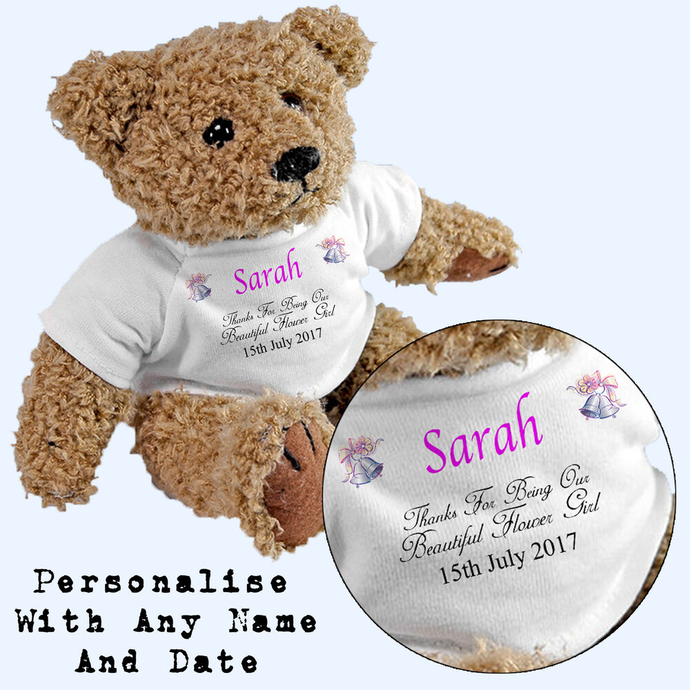 Flower Girl Wedding Gifts: Personalised Flower Girl Teddy Bear