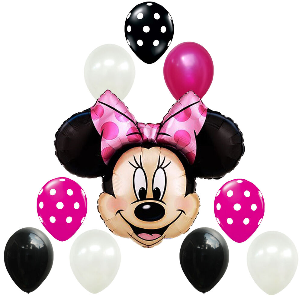 Birthday party decorations minnie mouse pink black white for Red and white polka dot decorations