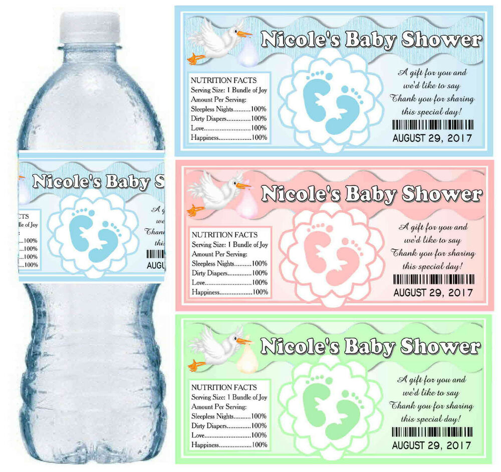 30 PERSONALIZED BABY SHOWER WATER BOTTLE LABELS
